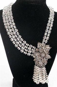 Vintage 1950's FABULOUS Sparkling Crystal JONNE Designer NECKLACE & Earrings SET #JonnebySchrager
