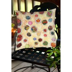 Thumbprintz Funky Flowers Indoor/Outdoor Pillow, Multicolor