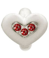 Endless Sterling Silver Garnet Triple Love with Red CZ Charm