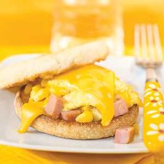 Kids will love these fun breakfast sandwiches. They're like the ones you get at restaurants but will fewer calories and less fat.