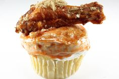 Coccadotts Cake Shop's cupcake has a corn-bread muffin base, bleu-cheese frosting and a chicken wing to top it all
