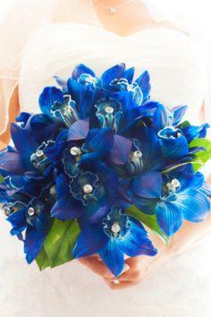 Blue orchid wedding bouquet:) love!