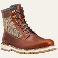 "Timberland Men 6"" Britton Hill Warm Wool Lined Harris Tweed Brown Leather Boot #Timberland #SnowWinter"