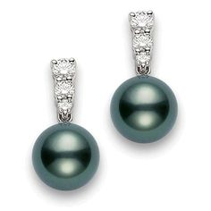Mikimoto - In 1893 Kokichi Mikimoto produces the worlds first cultured pearls. The gem quality Mikimoto pearls Pearl And Diamond Earrings, Pearl Diamond, Diamond Studs, Stud Earrings, Pearl Necklace, Tahitian Pearls, Mikimoto Pearls, Cultured Pearls, Black Pearl Jewelry