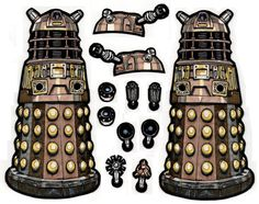 Here's my final Promarker render for the Time War Dalek. I decided to reverse the image to produce a second Dalek facing the opposite direction. If the side-scanning head is used, best to snip...
