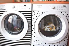 LOVE this idea to funk up an old (or new) washer/dryer- or any appliance! They used electrical tape to add pattern to their washer and dryer. This technique is water-resistant, easy to clean and removable.