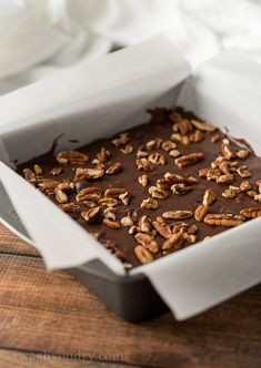 Pour the chocolate fudge into a parchment lined baking pan and pop in the fridge to set.