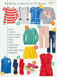 Cardigan Empire: Back to School for Girls in 13 Items. I know it's for younger girls, but I just LOVE these outfits!