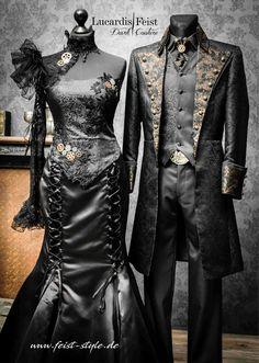 Style Steampunk, Steampunk Wedding, Steampunk Clothing, Steampunk Fashion, Gothic Fashion, Victorian Steampunk, Extravagant Wedding Dresses, Black Wedding Dresses, Wedding Suits