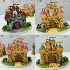 Some of the beautiful Castles built in today's advanced 3D Gingerbread decorating class at Pastry by Ann in Bangkok