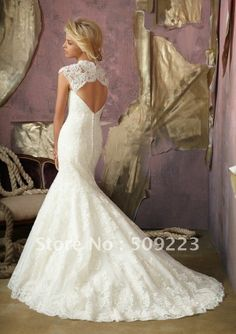 Magnificent floor length white lace applique open back fishtail beading cap sleeve customized wedding dress 2013-in Wedding Dresses from Apparel & Accessories on Aliexpress.com
