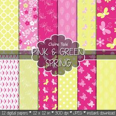 """Spring digital paper: """"PINK & GREEN SPRING"""" pink and green paper pack with flower pattern, butterflies, quatrefoils, leaves and polka dots"""
