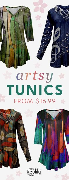Sign up to shop artsy tunics from $16.99. You'll be stylin' and profilin' in these tunics  with personality-packed prints. Choose from a plethora of patterns and flattering silhouettes. Shop sizes S-4X.