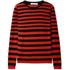 Bella Freud Skinny Minnie striped wool and cashmere-blend sweater (490 NZD) ❤ liked on Polyvore featuring tops, sweaters, red, red striped top, stripe sweaters, red stripe sweater, woolen sweater and stripe top