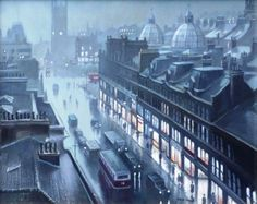 View Dim Day, Deansgate, Manchester, 1958 By Steven Scholes; oil on canvas; Access more artwork lots and estimated & realized auction prices on MutualArt. Manchester Art, Salford, Built Environment, Derbyshire, City Life, Night Light, Paris Skyline, Lights, History