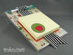 Post it note holder on acrylic frame. Cute! From: addINKtive designs: JAI 104 - Back to School (Better Late than Never)