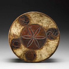 Great painted surface on this sailor-carved ditty box.