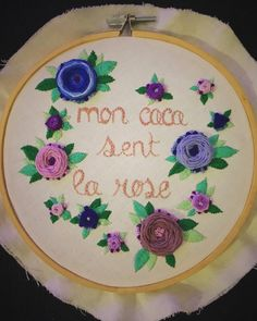 """PLEASE DON'T COPY An example of Custom embroidery by PPS, 6""""/ 15 cm hoop hand embroidery . Flowers , lettering for pastel embroidery & fiber art for wall decor #etsy #arttextile #lettering #embroidery #handmade #floral #hanstitched #parisianpastelstitches #haveanicepoop #fibertart #roses"""