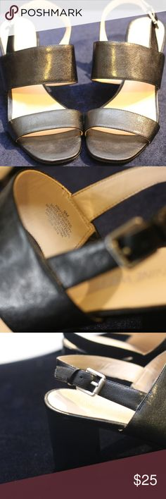 Nine West NW7 Toasted Stacked Heel BLACK **Only worn twice and has been in a box in the closet ever since**  This minimalist heeled sandal is a must have essential in any closet!  The modern stacked heels and straps create a versatile look that can be dressed up or dressed down.  Wear this with a pair of jeans or with a cute sun dress- Your choice!   Size: 9.5M (can fit a wide 8) Man-made material and lining  Make an offer (: Nine West Shoes