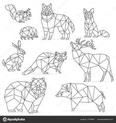 Ligne de basse poly animaux ensemble. Animaux en ligne polygonale origami. Loup ours chevreuil sanglier renard raton laveur lapin hérisson