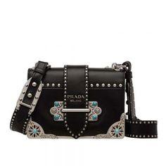 119f3283245 Prada Women Cahier Studded Calf Leather Bag-Black Prada Handbags, Prada Bag,  Studded