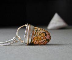 Ocean Jasper, Sterling Silver, 18kt Gold, Jasper Pendant, Handmade Jewelry, Unique.via Etsy.