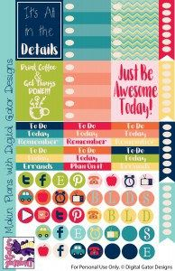 Free Planner Stickers from Digital Gator Designs | Plain Digital Wrapper NSD Blog Train