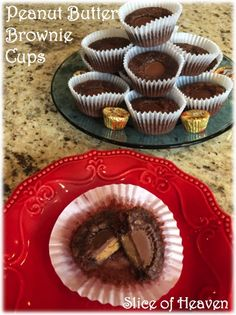Slice of Heaven~~Peanut Butter Brownie Cups Peanut Butter Brownies, Muffin, Cups, Heaven, Breakfast, Happy, Desserts, Recipes, Food