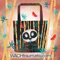 Tote bag - Sweet Panda eating bamboo, bag size x x Bamboo Bamboo, Print On Demand, Drop, Cute Panda, Clipart, Etsy, Tote Bags, Sweet, Fabric