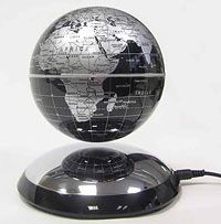 Floating Globe - Silver and Black with Mirror Base  #Stanfords #Globes