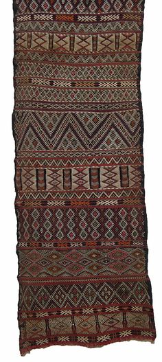 Africa | Pillow cover . Zemmour people, Middle Atlas Mountains, Morocco. | ca. 1900 - 1910.  Wool warp and weft