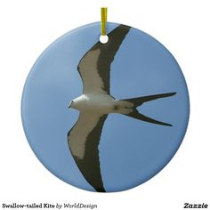 Swallow-tailed Kite Double-Sided Ceramic Round Christmas Ornament