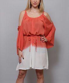 Look what I found on #zulily! Coral & White Cold Shoulder Dress #zulilyfinds