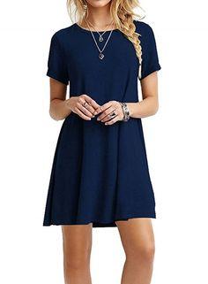 Casual Short Sleeve Swing T-shirt Loose Dress OASAP.com