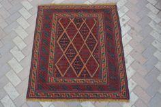vintage afghan tribal handmade square rug kilim Turkish Persian design 3'7 x3'11 #Handmade #Tribal