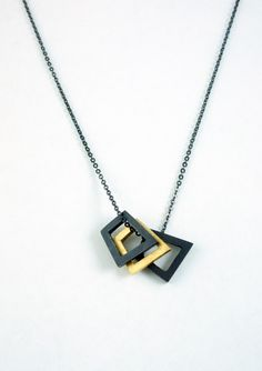 Rebecca Little Jewellery - exclusive jewellery designer & maker - Online Shop, oxidized silver and gold vermeil geometric pendant