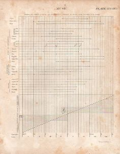 A comparison of the reach of instruments along the eight octaves drawn by Alexandre Choron in 1814.