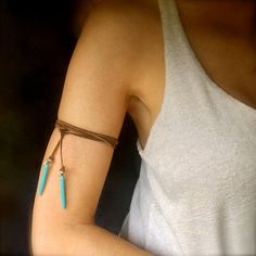 Turquoise Leather Arm Band Choker Lariat by MermaidBeadsJewelry