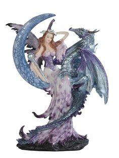 Purple Fairy Sitting with Dragon Fantasy Figurine