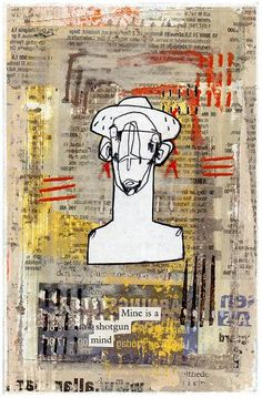 """'Shotgun Mind' Collage and Mixed Media on Board 6 x 4"""", 2013"""