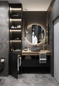 Bathroom interior done right, black and white colors are very soothing and comfortable 🧘♂️ to the eye, bright but dimmed, perfectly fitted… Home Room Design, Home Interior Design, House Design, Modern Interior, Bathroom Design Luxury, Modern Bathroom Design, Toilet Design, Apartment Interior, Bathroom Inspiration