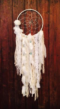 Bohemian Dream Catcher / Hippie Dreamcatcher / Native Boho Style / Luxurious Dream Catcher / Gold and Turquoise / Large White Dream Catcher