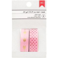 Bubblegum Pink Valentine Duo Washi Tape Set; 2x 5/8 Inch Wide Rolls (20 Yards Total)