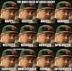 the many faces of Bruce Bochy Baseball Park, Baseball Boys, Giants Baseball, Better Baseball, Baseball Stuff, Softball, Sf Niners, Forty Niners, San Fransico Giants