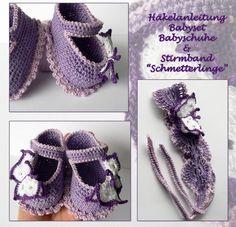 Baby-Schuhe + Stirnband häkeln / DIY Baby-Set                                                                                                                                                     Mehr