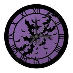 Shop Flying Bats Large Clock created by opheliasart. Purple Halloween, Fete Halloween, Halloween House, Halloween Bathroom, Halloween Crafts, Halloween Ideas, Happy Halloween, Goth Bedroom, Goth Home Decor