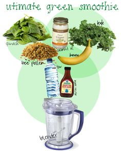 Recipe: handful of spinach handful of kale tbsp. coconut oil (h Ninja Smoothie Recipes, Ninja Blender Recipes, Ninja Recipes, Juicer Recipes, Salad Recipes, Green Smoothie Kale, Coconut Water Smoothie, Juice Smoothie, Smoothie Cleanse