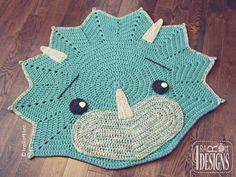 (4) Name: 'Crocheting : Cera Tops Triceratops Dino Rug Pattern