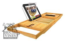 Luxury Bathtub Caddy Tray with Extending Sides - Bamboo W...