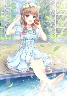 ✮ ANIME ART ✮ summer time. . .dress. . .ribbons. . .lace. . .pool. . .water. . .splashing. . .leaves. . .garden. . .flower crown. . .apple. . .sunlight. . .sparkling. . .cute. . .kawaii